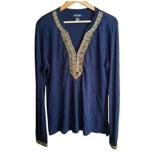 Lucky Brand Beaded V-neck Long Sleeve Blouse Blue Gold Size L